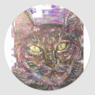 colourful greek cat classic round sticker