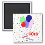 Colourful Happy 40th Birthday Balloons Square Magnet