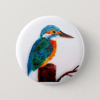 Colourful Kingfisher Art 6 Cm Round Badge