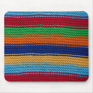 Colourful knitted stripes mouse pad