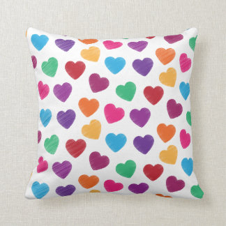 Colourful Love Heart Pattern Valentine's Day Throw Cushions