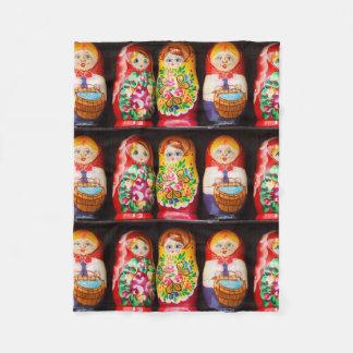 Colourful Matryoshka Dolls Fleece Blanket