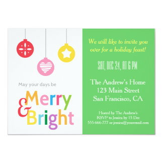 Colourful Merry and Bright Christmas Party 11 Cm X 16 Cm Invitation Card