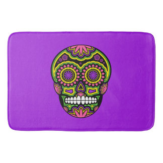 Colourful Mexican Sugar Skull Day Of The Dead Bath Mat