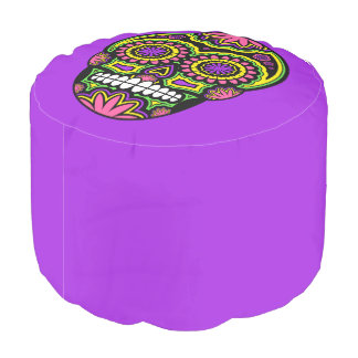 Colourful Mexican Sugar Skull Day Of The Dead Pouf