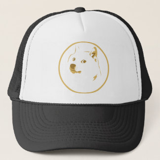 Colourful, minimal doge face trucker hat