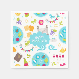 Colourful Modern Happy Passover Disposable Serviettes