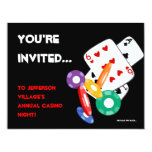 Colourful Poker Chips Vegas Casino Night 11 Cm X 14 Cm Invitation Card
