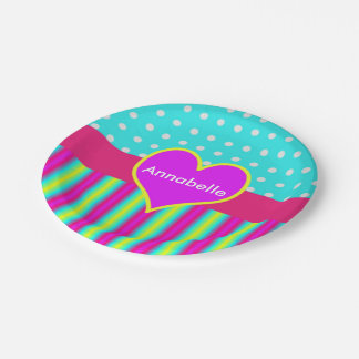 Colourful Rainbow Heart Striped Polka Dots 7 Inch Paper Plate