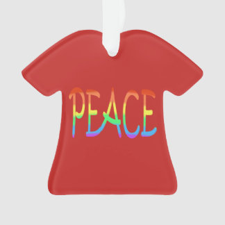 Colourful Rainbow Peace Word Red Ornaments