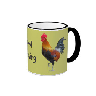 "Colourful Roosters ""Good Morning"" Coffee Mug"
