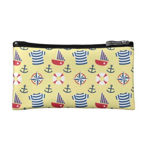 Colourful Sailboat Anchor Nautical Theme Pattern Makeup Bag