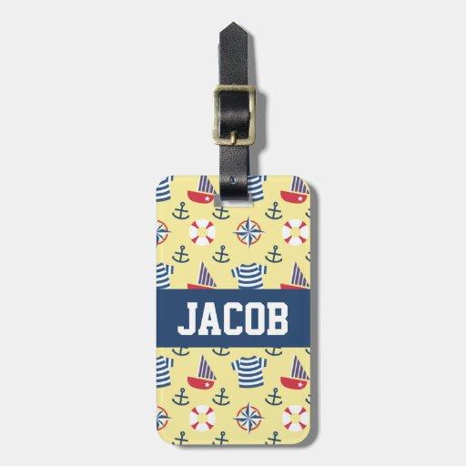 Colourful Sailboat Anchor Nautical Theme Pattern Bag Tag