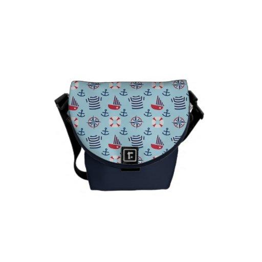 Colourful Sailboat Anchor Nautical Theme Pattern Messenger Bag