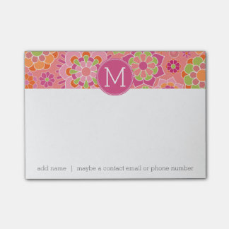 Colourful Spring Floral Pattern Custom Monogram Post-it Notes