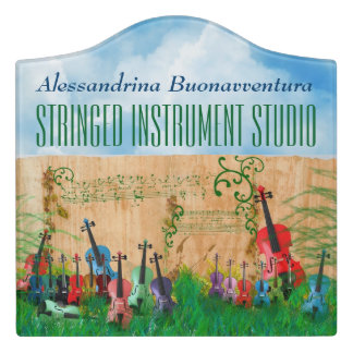 Colourful Stringed Instruments Garden Customisable Door Sign