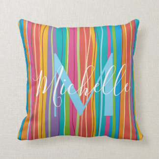 colourful stripes monogram cushion