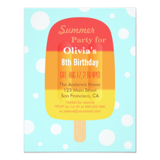 Colourful Summer Lolly Popsicle Ice Cream Party 11 Cm X 14 Cm Invitation Card