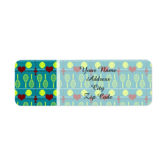 Colourful tennis pattern return address label
