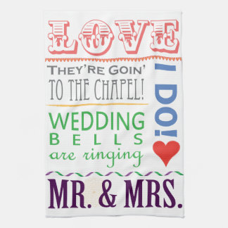 Colourful Typography Wedding Dish Towels