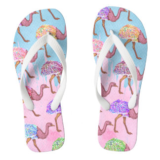 Colourful Watercolor Painted Ostrich Pattern Jandals