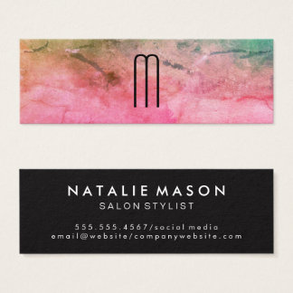 Colourful Watercolor Texture with Monogram Mini Business Card