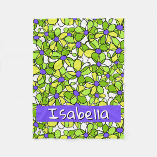 Colourful Whimsical Personalised Floral Pattern Fleece Blanket