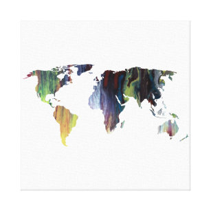 Watercolor world map canvas prints wall art zazzle colourful world map silhouette canvas print gumiabroncs Gallery