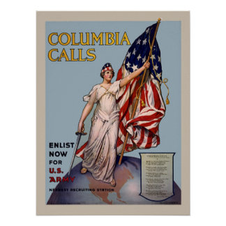 Columbia Calls Vintage WW1 Army Enlistment Posters