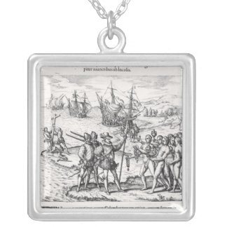 Columbus in What Was First Called India Silver Plated Necklace