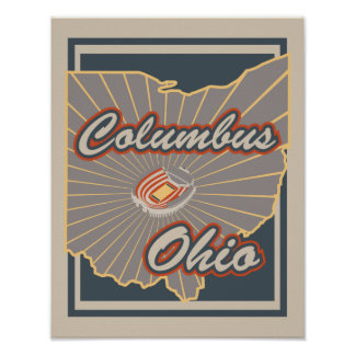 Columbus, Ohio Art Print - Travel Poster v2