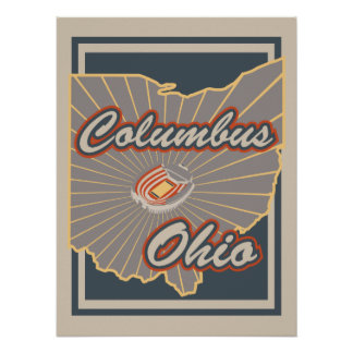 Columbus, Ohio Art Print - Travel Poster - v2