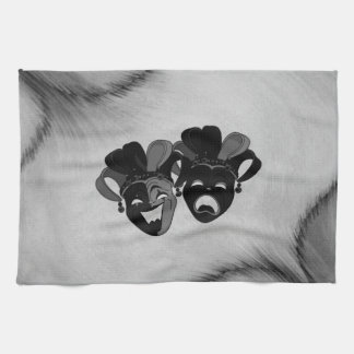 Comedy and Tragedy Theater Jester Masks Silver Tea Towel