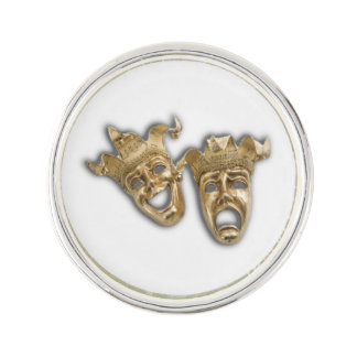 Comedy and Tragedy Theatre Masks Black Lapel Pin