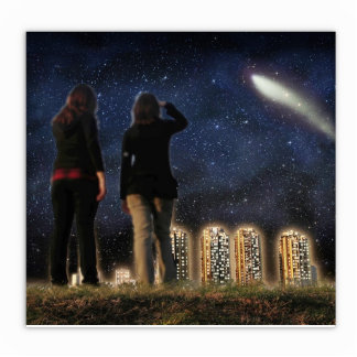 Comet Over the City Standing Photo Sculpture