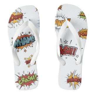 Comic Book Heroes Flip Flops Thongs