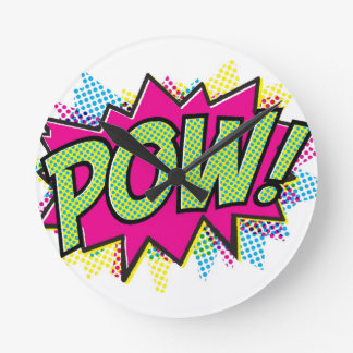 Comic Book Pow! Art Design Round Clock