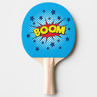 Comic Book Style Colourful BOOM Ping Pong Paddle