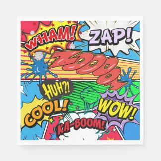 Comic Book Superhero Birthday Boy Napkins Disposable Serviettes