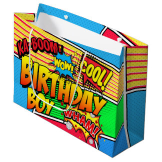 Comic Book Superhero Birthday Party Custom Large Gift Bag