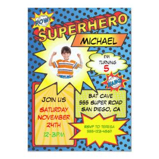 Comic Book Superhero Photo Insert Birthday Party 11 Cm X 16 Cm Invitation Card