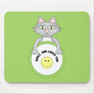 Comic Cat Smile God Loves You Mousepad