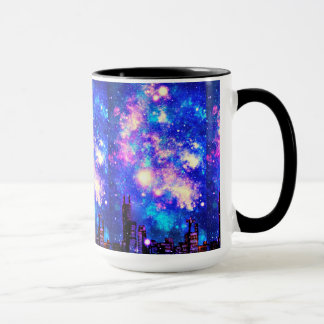 Comic Style City Skyline & Milky Way Night Sky Mug