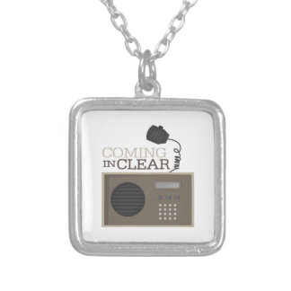Coming In Clear Square Pendant Necklace