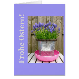 Common blue hyacints easter greeting - german greeting card