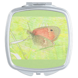 Common Ringlet Butterfly Drawing Compact Makeup Mirror