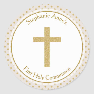 Communion Beige with Gold Polka Dots Classic Round Sticker