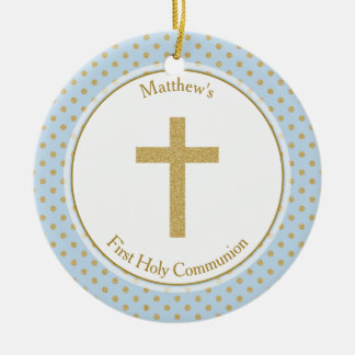Communion Blue with Gold Polka Dots Christmas Ornament