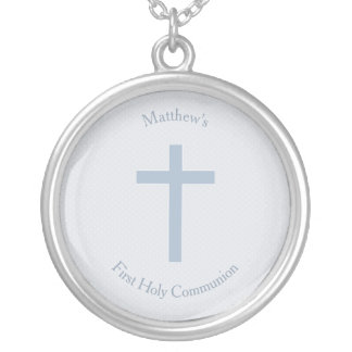 Communion Pastel Blue Cross Silver Plated Necklace