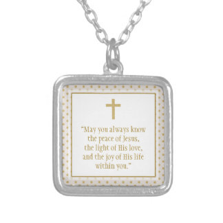 Communion Prayer Silver Plated Necklace
